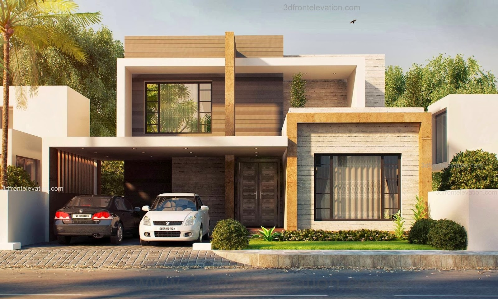 3d front 10 marla modern house plan beautiful latest pakistani design for bahria town - Latest design modern houses ...