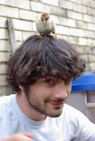 Baby chick on top of Doug's head