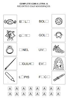 Atividade para alfabetização - Complete a letra que falta 5.