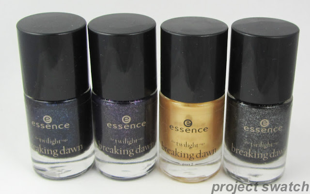 Essence Twilight Breaking Dawn Nail Polish Collection: 01 Jacob's Proection, 02 Alice Had a Vison, 03 A Piece of Foreve, 04 Edward's Love