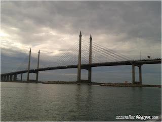 Penang Bridge, First Penang Bridge, Straits of Malacca, Jambatan Pulau Pinang, Perai ke Penang, Jambatan Kontraktor dari Korea, Pemandangan dari Laut