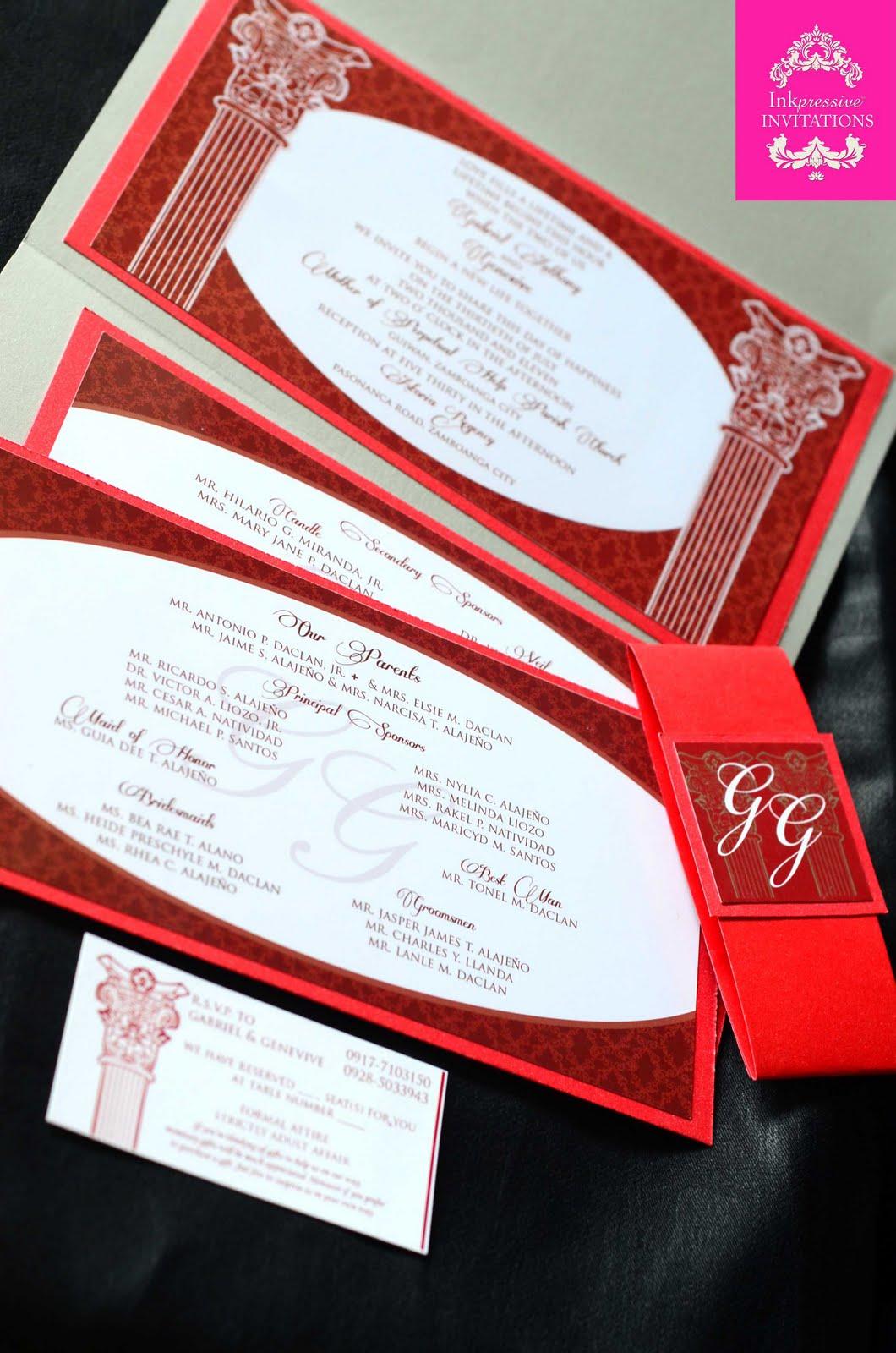 Red and Silver Wedding Invitation | INKPRESSIVE INVITATIONS