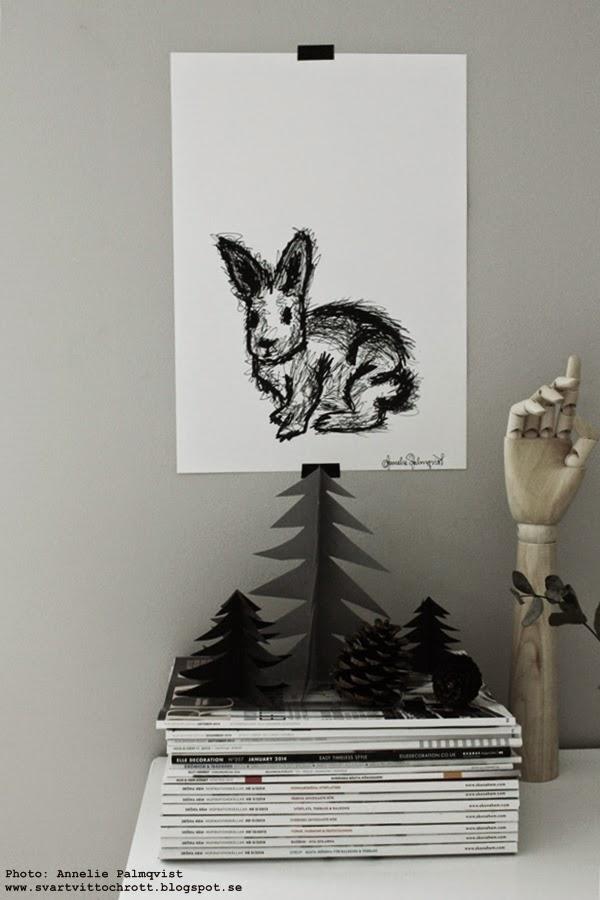 konsttryck, tavla kanin, kaniner, svartvitt motiv på tavla, artprint, prints, print, artprints, poster, posters, webbutik, julklappstips,