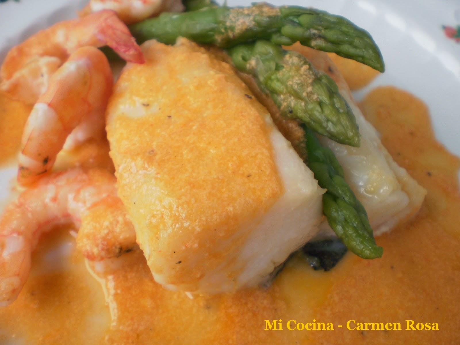 Como Cocinar Lomos De Bacalao | Lomos De Bacalao Al Horno Con Salsa De Langostinos Y Esparragos Mi