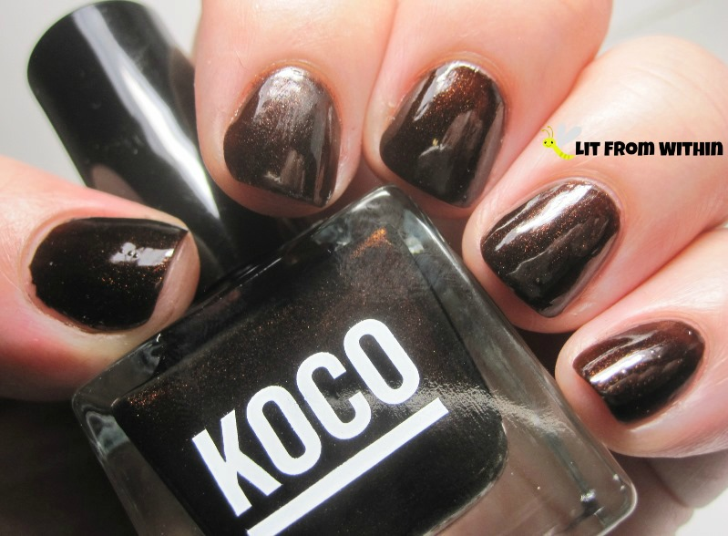 Koco Insta-Glam, a gorgeous shimmery brown polish