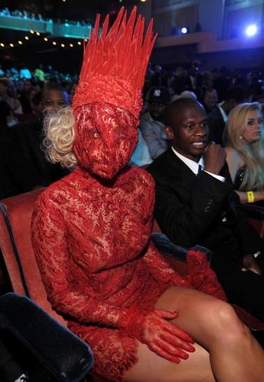 lady gaga meat dress VMA 2010