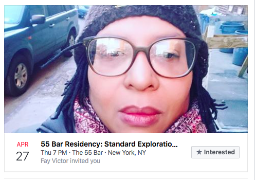 Next performance: April 27, 2017 - Fay Victor and Standard Exploration at the 55 Bar