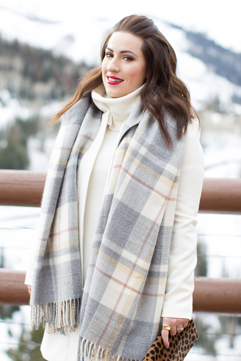 blanket scarf, russian red lipstick, white sweater