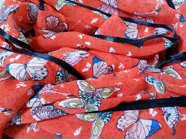 shawl chiffon printed butterfly with piping red