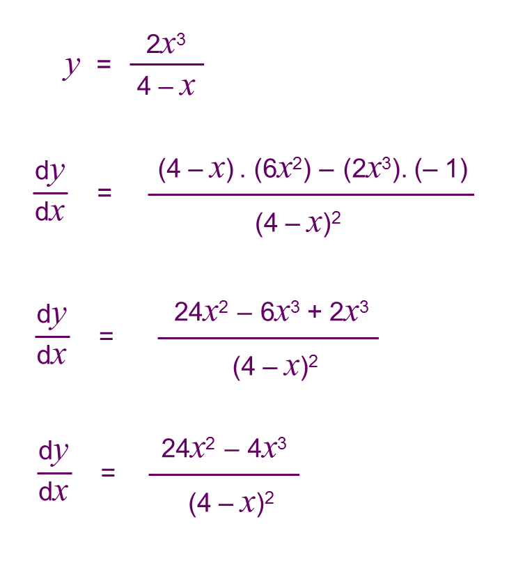 core pure 3 notes quotient rule examples
