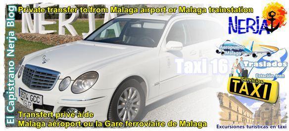 Servicio de traslado privado en taxi Mercedes del aeropuerto de Málaga, Estación de tren AVE, Puerto Marítimo, a Nerja.