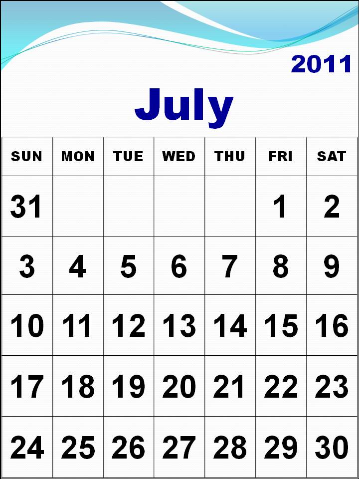 july 2011 blank calendar. To download and print these Free Big Monthly Calendar 2011 July with big fonts: