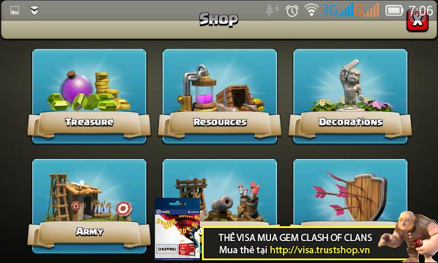 Hướng dẫn mua Gem Clash of Clans với thẻ Visa Prepaid