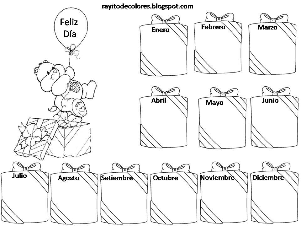 Bonito Colorear Tarjeta De Cumpleaños Imprimible Motivo - Dibujos ...