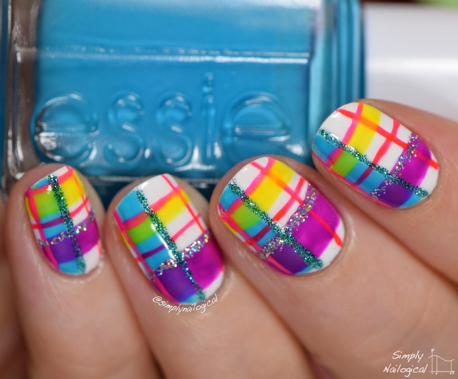 Simply Nailogical: Neon plaid re-creation mani