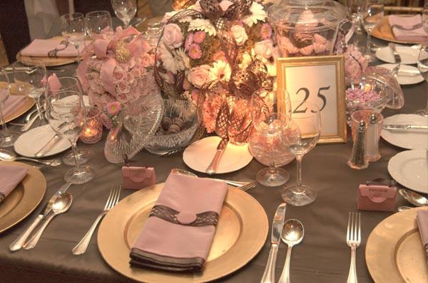 Solteiras Noivas Casadas Decoração do Casamento Rosa e Cinza