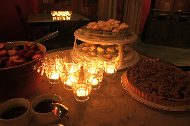 Candle-Lit Dessert Table with Whole Wheat Plum Crumble Tart