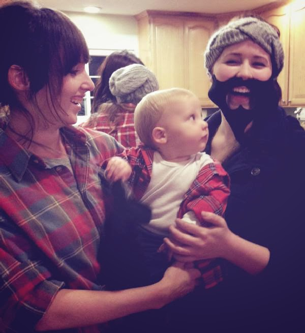 lumberjack ladies and baby