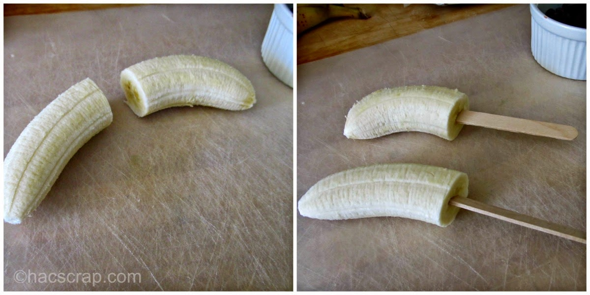 Preparing the Bananas for Frozen Chocolate Covered Bananas