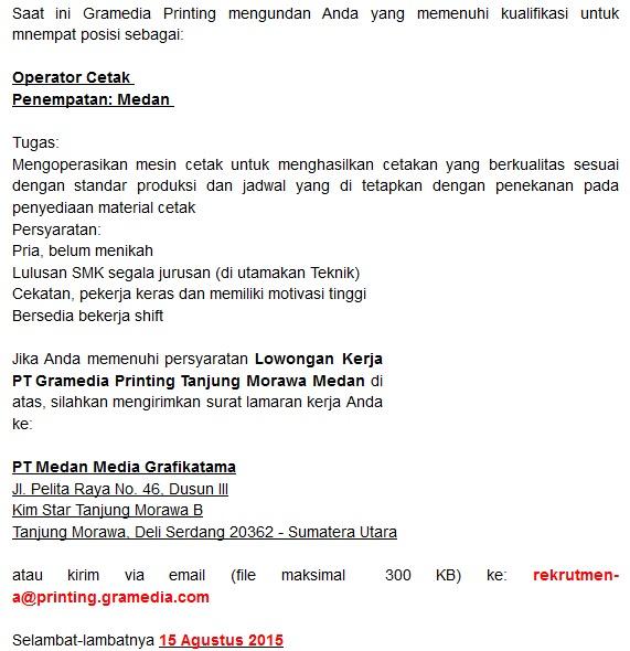 Lowongan Kerja Medan PT Gramedia Printing Tanjung Morawa