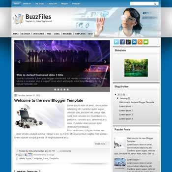BuzzFiles blogger template. template blogspot magazine style. download business blogger template