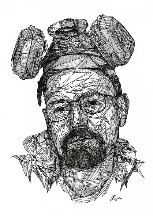 06-Heisenberg-Josh-Bryan-Monochromatic-Triangulation-Drawings-Portraits-www-designstack-co