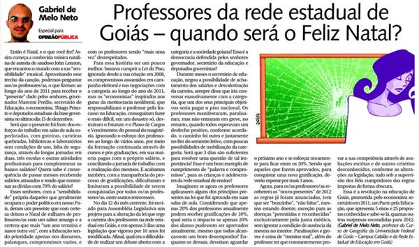 Professores da Rede Estadual de Goiás: Quando Será o Feliz Natal?