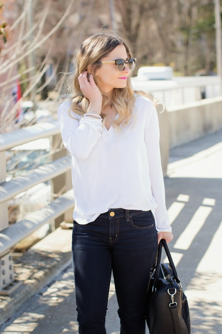 Classic White Shirt With Dark Denim Outfit