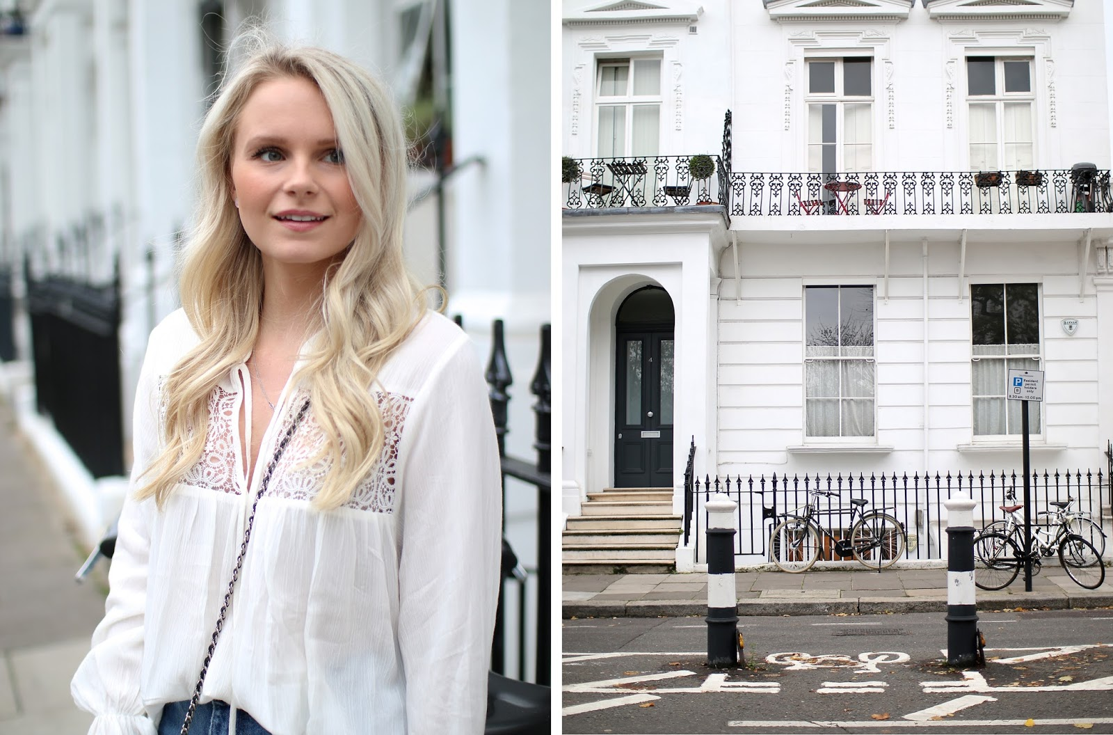 scenic shot of notting hill in london, white buildings and beautiful architecture in the city