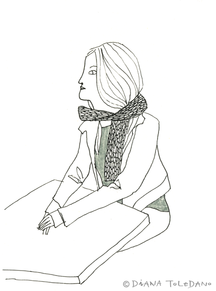 Sketch of a San Francisco girl with a scarf by Diana Toledano