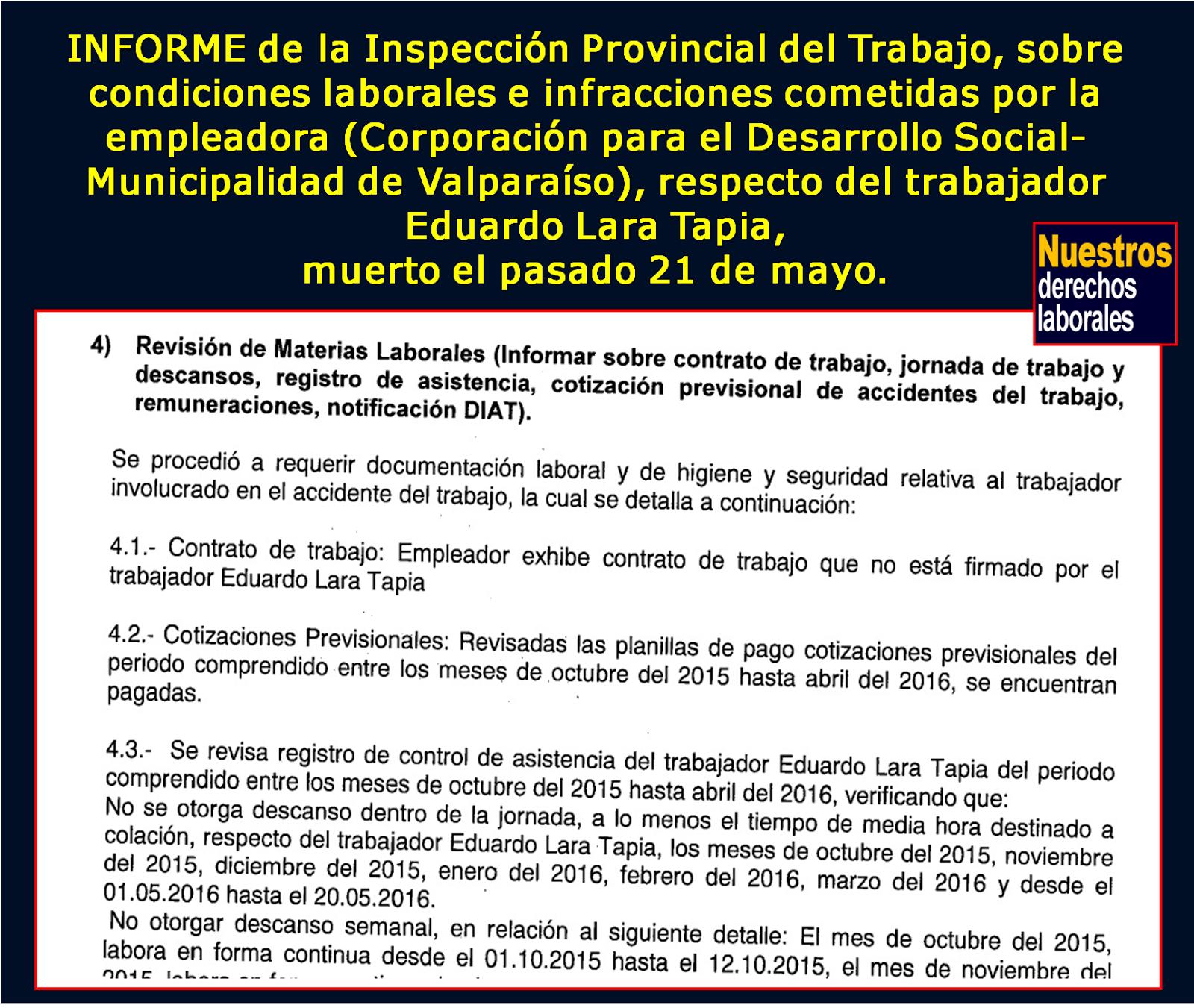 Realidad laboral, trabajador Eduardo Lara, muerto el 21 de mayo de 2015, Valparaíso.