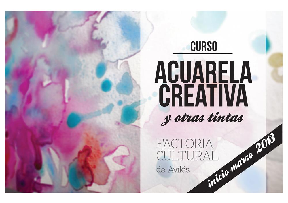 Cartel del curso Acuarela creativa y otras tintas