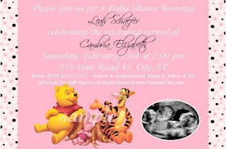 Pink Pooh Baby Girl Baby Shower Invitations