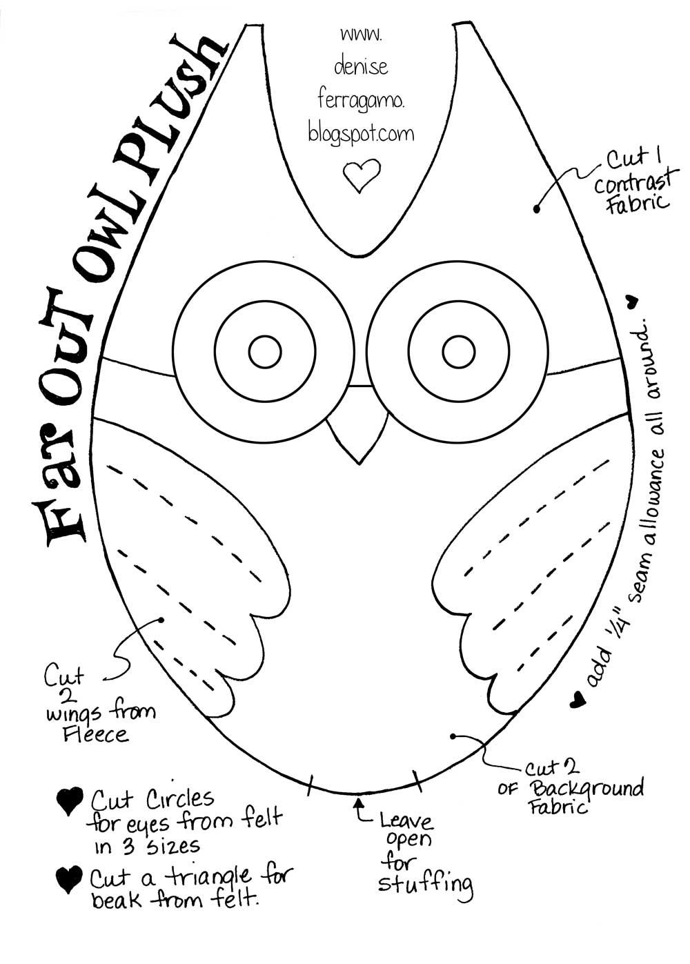 Denise loves art diy make this cute owl plushie with my for Owl templates for sewing