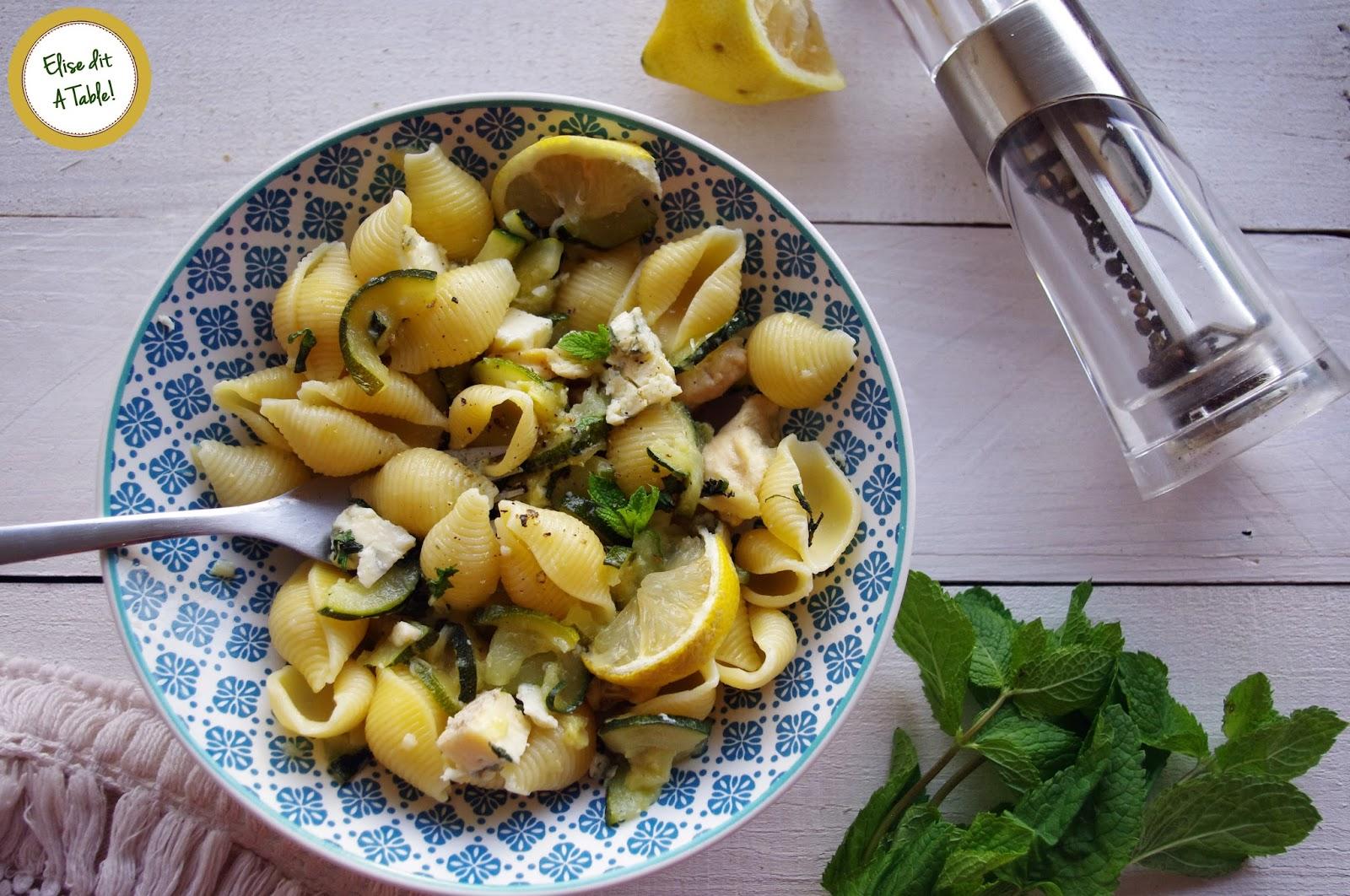 recette pâtes courgette bleu citron et menthe
