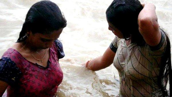 Nude Indian Women Bathing River