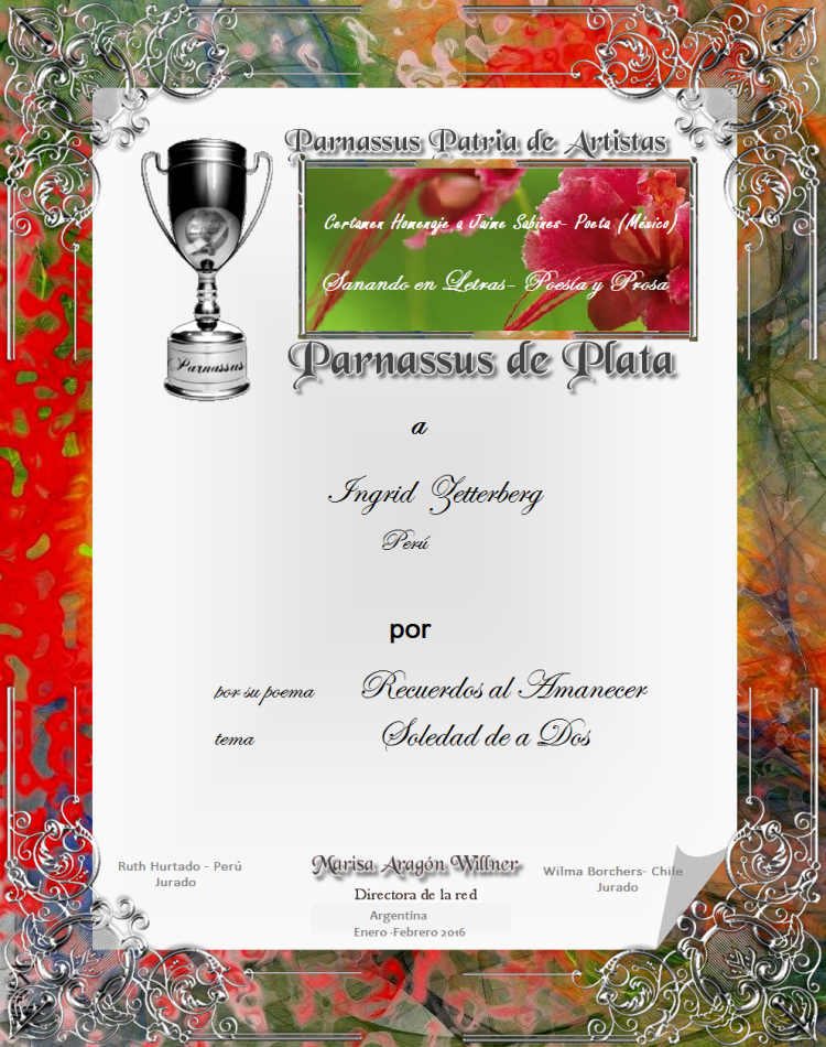 Copa de Plata...Segundo puesto en Parnassus Patria de artistas