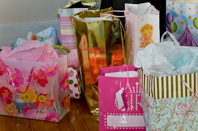 wrapped baby shower gifts