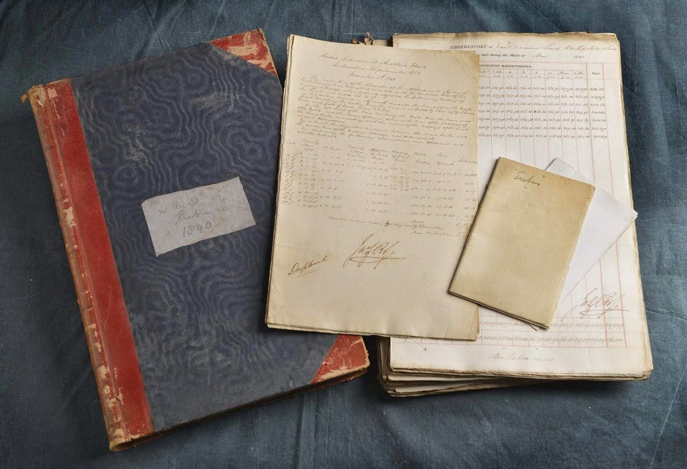 Term day book and other papers containing magnetic and meteorological observations from HMS Erebus, 1840-1843. James Ross's signature can be seen in the centre.