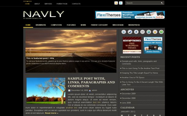 Free Dark Black Grey Jquery Wordpress Theme