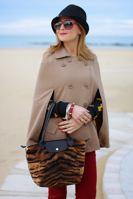 Camel cape coat, Persunmall cape, Longchamp Le Pliage tigre, Fashion and Cookies, fashion blogger