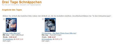 Drei Tage Schnäppchen-Aktion bei Amazon: Bis 10.02.2012 günstige Blu-rays und DVDs