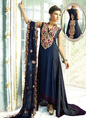 Dark Blue Pakistan Dress With Intricate Thread Embroidery