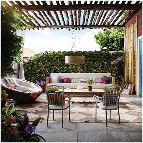Rustic terrace design and furniture garden terrace design for Terrace pergola