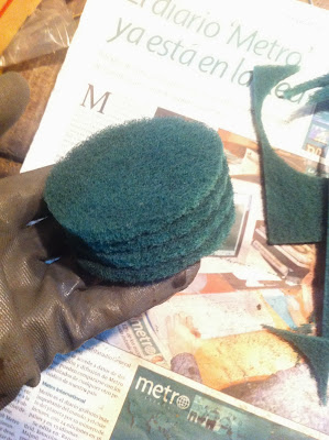 Cuatro discos de fibra verde