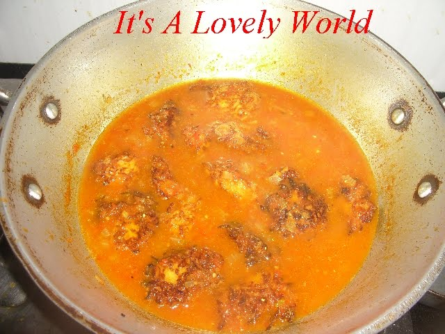 ... the pan or kadhai for 2 minutes. Yellow Pumpkin Kofta Curry is ready
