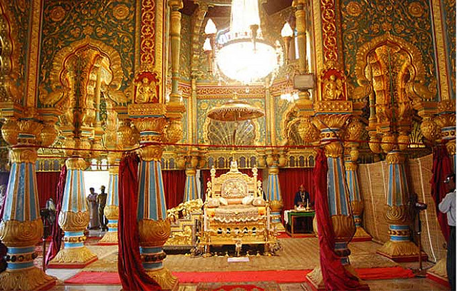 gold throne and golden designs in amba vilas palace maharajas mysore palace india