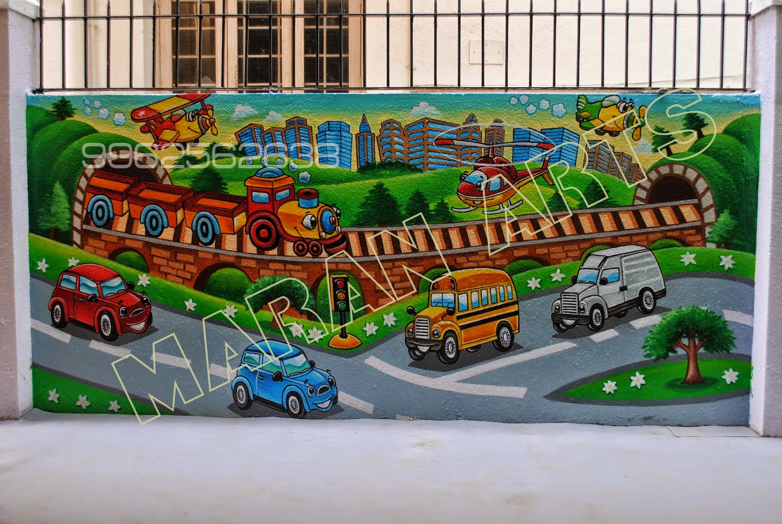 Cartoon Wall Art For Kids With Play School Wall Murals   ( Maran Arts    9962562638 ) Part 89