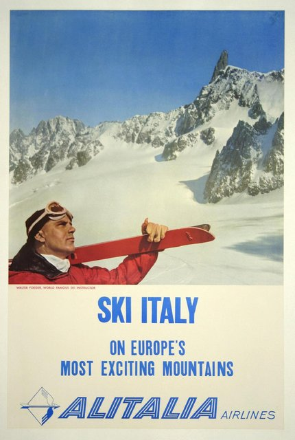 classic posters, free download, graphic design, retro prints, skiing, sports, travel, travel posters, vintage, vintage posters, Ski Italy, On Europe's Most Exciting Mountains, Alitalia Airlines - Vintage Travel Sports Poster