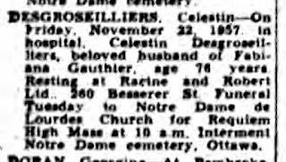 Celestin Desgroseilliers obituary 1957